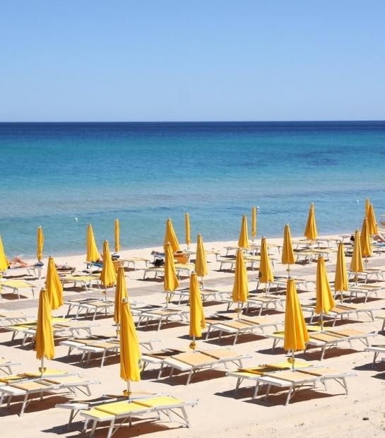 Costa Rei beach with umbrellas